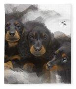 Three Adorable Black And Tan Dachshund Puppies Fleece Blanket