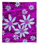 Three And Twenty Flowers On Pink Fleece Blanket