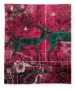 Three Antelope On Red Fleece Blanket