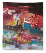 Three Arms10  Original Abstract Colorful Landscape Painting For Sale Red Blue Green Fleece Blanket