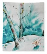 Three Aspens On A Snowy Slope Fleece Blanket