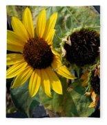 Three Beautiful Sunflower Fleece Blanket