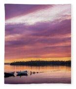 Three Boats In French Village, Nova Scotia #2 Fleece Blanket