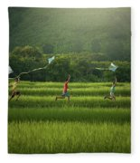 Three Boys Are Happy To Play Kites At Summer Field In Nature In  Fleece Blanket