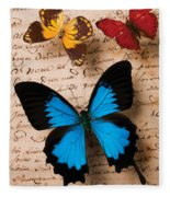 Three Butterflies Fleece Blanket