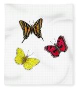 Three Butterflies Fleece Blanket