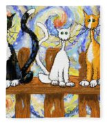 Three Cats On A Fence Fleece Blanket
