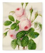 Three Centifolia Roses With Buds Fleece Blanket