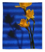 Three Cheers - Yellow Daffodils In A Red Bowl Fleece Blanket
