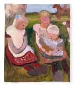 Three Children Sitting On A Hillside With Dog And Horse Fleece Blanket