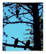 Three Crows In A Tree Fleece Blanket