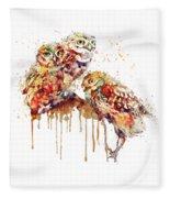 Three Cute Owls Watercolor Fleece Blanket