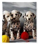 Three Dalmatian Puppies  Fleece Blanket
