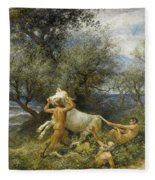 Three Faun With Cow And Calf Fleece Blanket