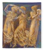 Three Female Figures Dancing And Playing Fleece Blanket