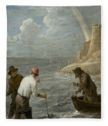 Three Fishermen Casting Their Nets Fleece Blanket