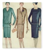 Three Flappers Modelling French Designer Outfits, 1928 Fleece Blanket
