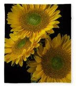 Three Golden Sunflowers Fleece Blanket
