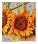 Three Graphic Sunflowers Fleece Blanket