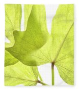 Three Green Leaves Fleece Blanket