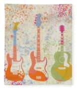 Three Guitars Paint Splatter Fleece Blanket
