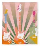 Three Guitars Pop Art Fleece Blanket