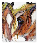 Three Horses Talking Fleece Blanket