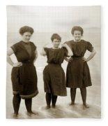 Three Ladies Bathing In Early Bathing Suit On Carmel Beach Early 20th Century. Fleece Blanket