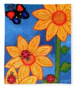 Three Ladybugs And Butterfly Fleece Blanket