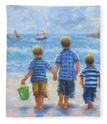 Three Little Beach Boys Walking Fleece Blanket