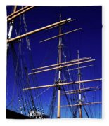 Three Mast Sailing Rig Fleece Blanket