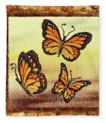 Three Monarch Butterflies Fleece Blanket