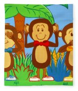 Three Monkeys No Evil Fleece Blanket