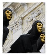 Three Muses On The Lithuanian National Dramatic Theatre In Vilnius Fleece Blanket