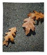 Three Oak Leaves Fleece Blanket