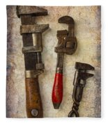 Three Old Worn Wrenches Fleece Blanket