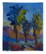 Three Palms At Palm Desert Fleece Blanket