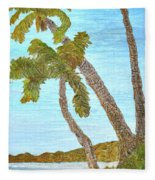 Three Palms At The Beach Fleece Blanket