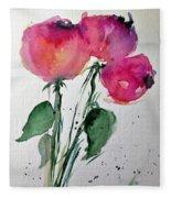 Three Pink Flowers 2 Fleece Blanket