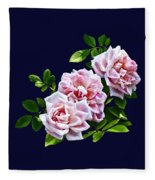 Three Pink Roses With Leaves Fleece Blanket