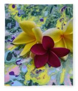 Three Plumeria Flowers Fleece Blanket