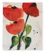 Three Poppies Fleece Blanket
