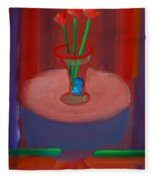 Three Poppies In A Vase Fleece Blanket