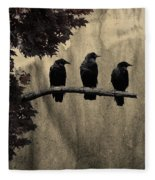 Three Ravens Branch Out Fleece Blanket