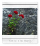 Three Red Mums Poster Fleece Blanket