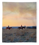 Three Riders In The Kansas Flint Hills Fleece Blanket