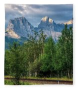 Three Sisters And The Railroad Fleece Blanket