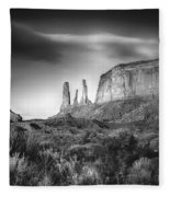 Three Sisters Formation At Monument Valley Fleece Blanket