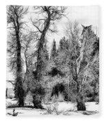 Three Trees Bw Fleece Blanket