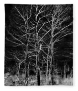 Three Trees In Black And White Fleece Blanket